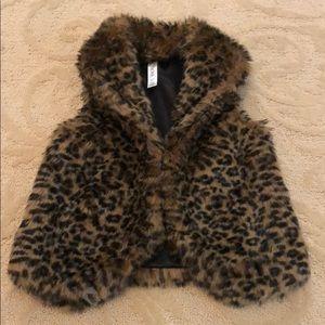 Cheetah Print Faux Fur Vest Girls Size 6/7